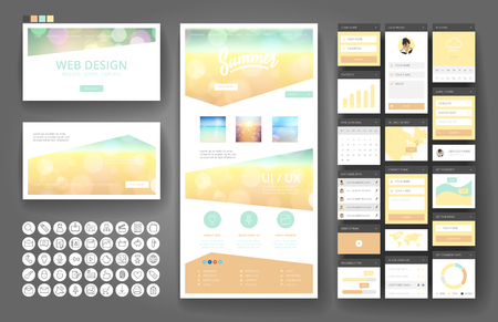 Illustration for Website template, one page design, headers and interface elements. - Royalty Free Image