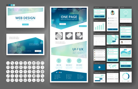 Ilustración de Website template, one page design, headers and interface elements. Bokeh defocused backgrounds. - Imagen libre de derechos