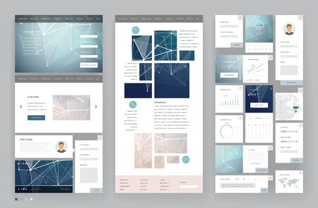 Illustration for Website template design with interface elements. Low poly abstract backgrounds. Vector illustration. - Royalty Free Image