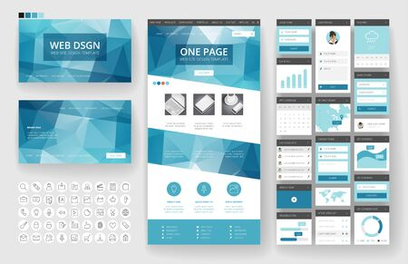 Illustration for Website template, one page design, headers and interface elements. Low poly abstract backgrounds. - Royalty Free Image