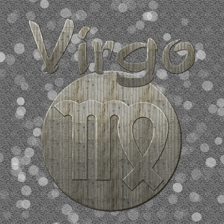 An image with virgo sign and text in a grey background  Has vintage wooden style and bokeh in background