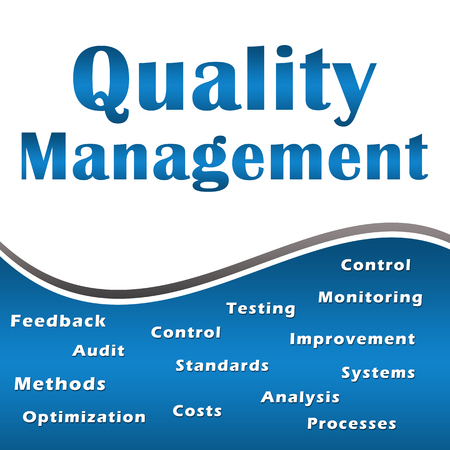 Quality Management Blue Keywords Square