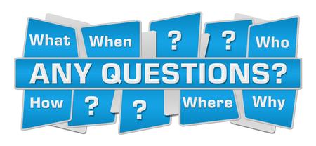 Photo pour Any Questions Blue Squares Top Bottom - image libre de droit
