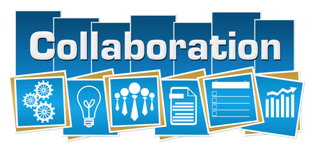 Collaboration Business Symbols Blue Squares Stripes