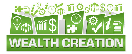 Photo for Wealth Creation Business Symbols On Top Green - Royalty Free Image