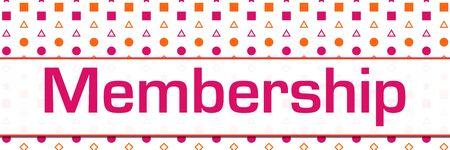 Photo for Membership Pink Orange Basic Shapes Background Horizontal - Royalty Free Image
