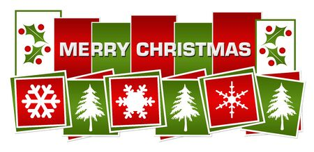 Photo for Merry Christmas Red Green Squares Boxes - Royalty Free Image