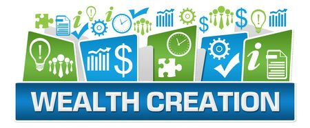 Photo for Wealth Creation Green Blue Business Symbols On Top - Royalty Free Image