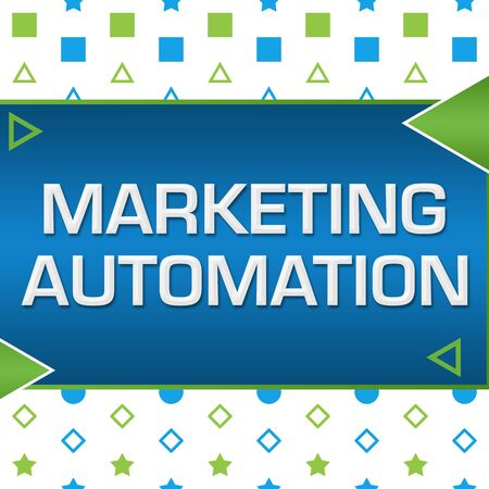 Photo for Marketing Automation Green Blue Basic Shapes Triangles - Royalty Free Image