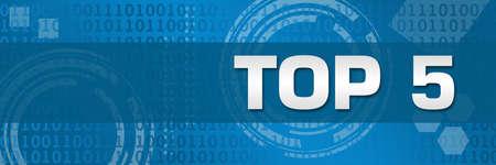 Photo pour Top five text written over blue background. - image libre de droit