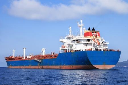 large blue oil tanker sailing