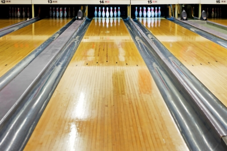 pins at the end of bowling lane