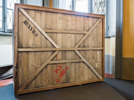 wooden crate in warehouse, museum or empty room