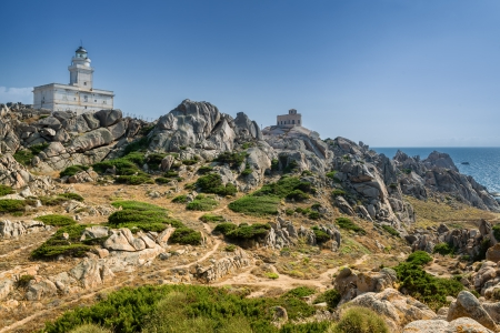 Capo Testa with withe lighthouse and sea in background. Sardinia, Italy.