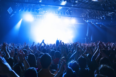crowd silhouettes at music concert  in front of stage