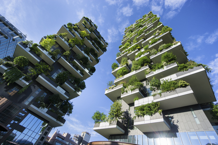 MILAN, ITALY - MAY 15, 2016: Bosco Verticale (Vertical Forest) low view. Designed by Stefano Boeri, sustainable architecture in Porta Nuova district, in Milan