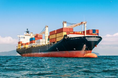 Photo for International Container Cargo ship in the ocean, Freight Transportation - Royalty Free Image