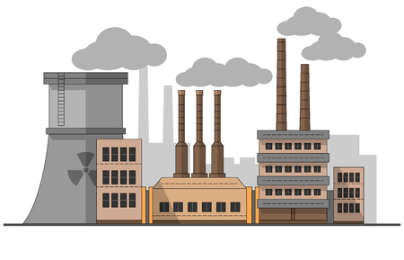 Illustration pour Industrial factory with nuclear station landscape. Vector flat illustration. Background. Pipes with smoke. Painting. Editable. EPS10 - image libre de droit