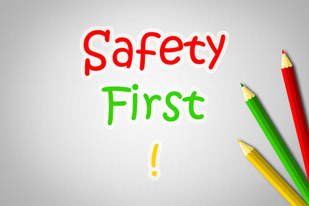 Safety First Concept text on background