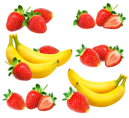 Photo for Bananas and strawberries isolated on white - Royalty Free Image