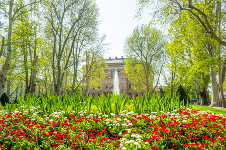 Zagreb, Croatia, park Zrinjevac and academy of science and arts palace in background, beautiful spring day, popular tourist destination
