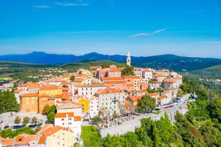 Photo for Town of Labin in Istria, Croatia, old traditional houses and castle, view from drone - Royalty Free Image
