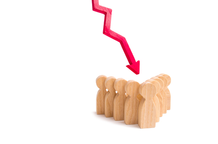 A group of people in an arrow formation and a red down arrow. Concept of falling team morale. Low supply of qualified personnel in the labor market. Drop in income, low rating. Political force