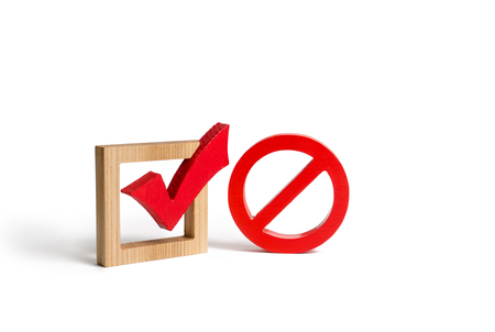 A red check mark and a NO symbol. lack of choice or election of the state. Restriction of rights and freedoms. No option, unavailability. Laws on prohibition and infringement. Repeal of law