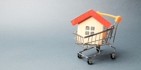 Photo pour Wooden house in a Supermarket trolley. The concept of buying a house or apartment. Affordable housing. Profitable and cheap loans for real estate. Buying a home. Mortgage and loan. Place for text - image libre de droit