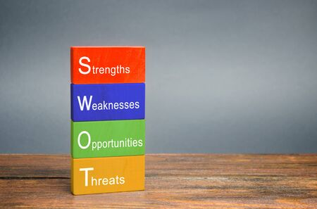 Photo pour SWOT analysis concept. The method of strategic business planning. Strengths, weaknesses, opportunities, threats. Business competition or project planning. Wooden blocks. - image libre de droit