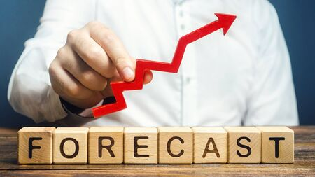 Photo pour Man holds red arrow up over word Forecast. Budget surplus, optimistic price quotes, rise of company value. Prediction further development of situation. High demand, profitability, economic prosperity - image libre de droit