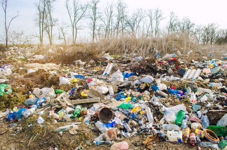 KHERSON, UKRAINE - MARCH 28, 2020: Heaps of garbage in the forest. Illegal garbage dump in nature. Environmental and air pollution. Trash ecological problem in not developed countries. Selective focus