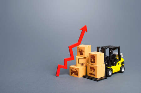 Photo for Forklift with boxes and red arrow up. Growth of performance production of goods. Import export, economic recovery trading. High demand, price. Overproduction. Economic development, business support. - Royalty Free Image