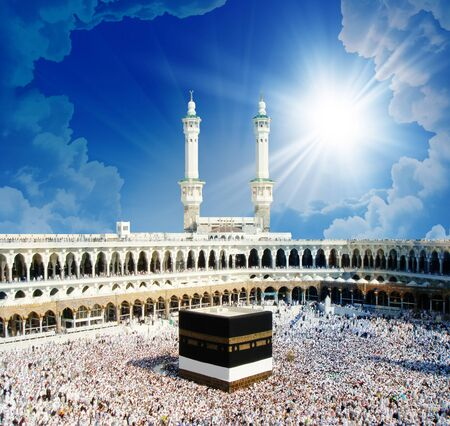 Photo pour 3d wallpaper design with kabah in mekka for mural - image libre de droit