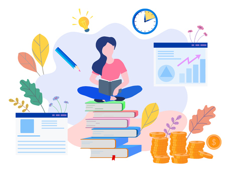 Illustration pour Concept Education, online training, Internet studying, online book, tutorials, e-learning for social media, documents, cards, posters. distance education Vector illustration online education - image libre de droit