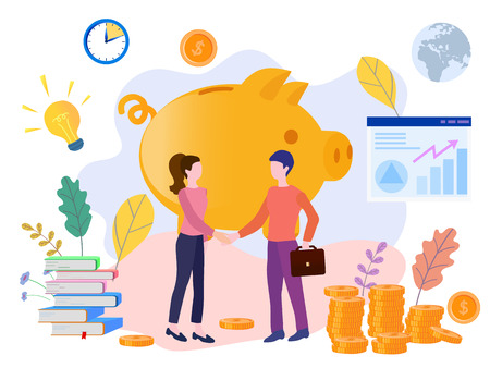 Illustration for Concept piggy bank, successful team, for web page, banner, presentation, social media, posters. Vector illustration financing, big profit, golden coins, teamwork, startup, Money Growth, financial - Royalty Free Image