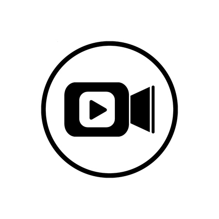 Illustration pour Video camera icon in flat style. Movie play vector illustration on white isolated background. Video streaming business concept - image libre de droit