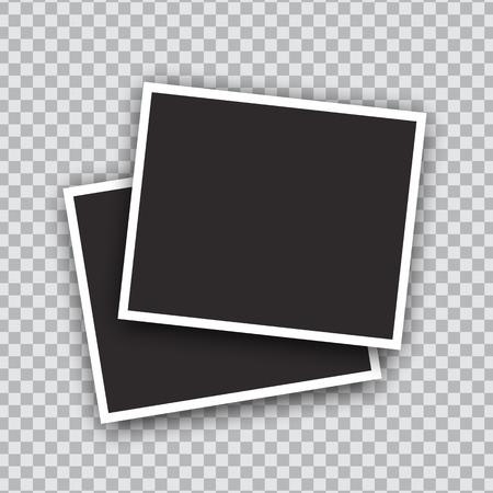 Illustration pour Vector Photo frames mockup design. White border on a transparent background - image libre de droit