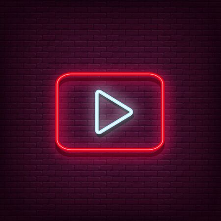 Illustration for Neon Play vector logo. Play button - Royalty Free Image