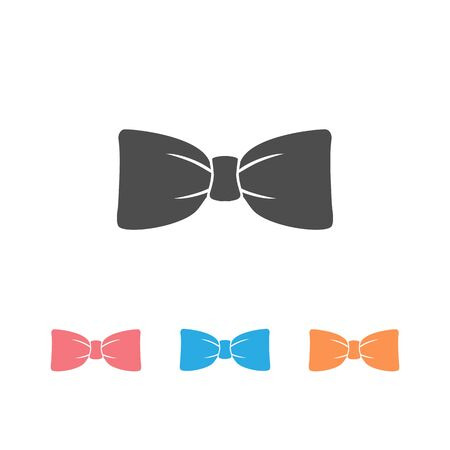 Black bow tie vector icon set isolated on white background