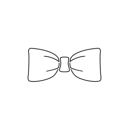 Black bow tie vector line icon isolated on white background