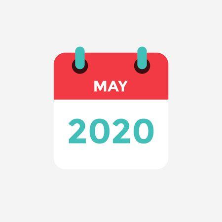 Illustration pour Flat icon calendar May 2020. Vector illustration. - image libre de droit