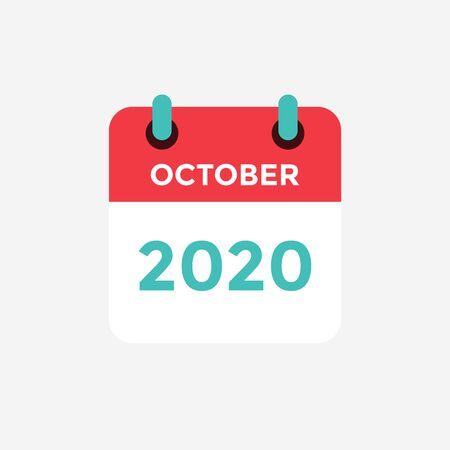 Illustration pour Flat icon calendar October 2020. Vector illustration. - image libre de droit