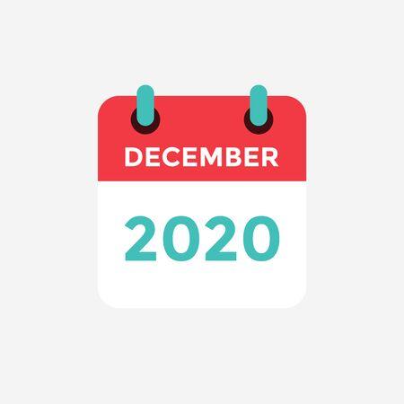 Illustration pour Flat icon calendar December 2020. Vector illustration. - image libre de droit