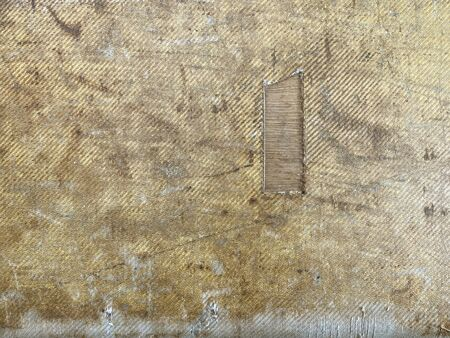 Photo for yellow tweet pattern is very old is torn until seeing the wood grain inside, around the 1960's, and candles were lit Make the body fabric with copy space. Wallpaper, Background or texture. - Royalty Free Image