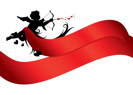 Cupid silhouette with red ribbons isolated on white background