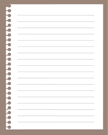 Illustration pour spiral notebook page isolated on brown    - image libre de droit