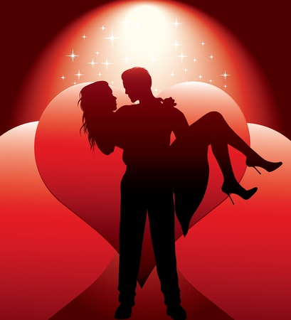 Illustration for couple silhouette with hearts - Royalty Free Image