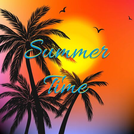 Illustration for Summer themed background with palm trees - Royalty Free Image