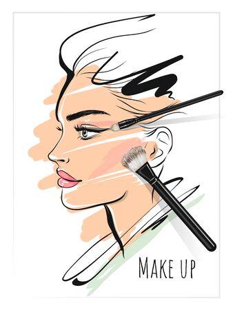 Illustration pour Make up art  beauty stylish face and makeup brushes - image libre de droit